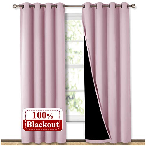 NICETOWN Full Shading Curtains for Windows, Super Heavy-Duty Black Lined Blackout Curtains for Girl's Room, Privacy Assured Heavy Drapes (Lavender Pink, Pack of 2, 52 inches W x 95 inches L) (Privacy Drapes)