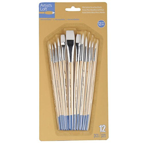 Artists Loft Necessities White Synthetic Flat & Round Brushes