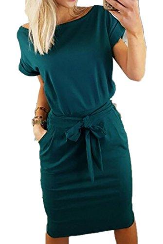 Fubotevic Womens Short Sleeve Crew Neck Summer Pure Color Bandage Midi Dress Blackish Green L