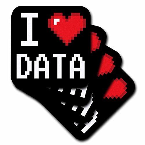 3dRose CST_118876_2 Geeky Old School Pixelated Pixels 8-Bit I Heart I Love Data Soft Coasters, Set of ()