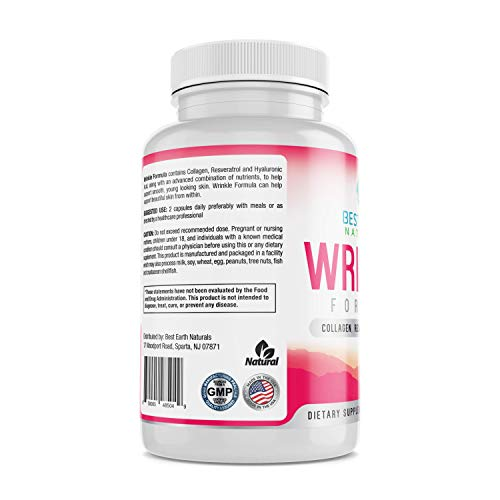 41v2lNWKn0L - Wrinkle Formula Advanced Anti-Aging, Beauty Enhancing Antioxidant Supplement, w/Collagen, Glutathion, Resveratrol and More for Smooth Skin - 60 Caps