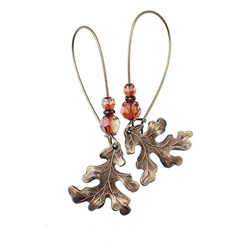 Wild Oak Leaf Earrings in Antiqued Brass with Rustic Red Swarovski Crystals