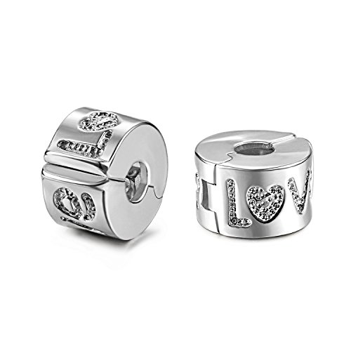 JewelrieShop 2 Pcs European Beads Stopper Clip Lock Beads Spacer Charm for Bracelet, Openable (Spacer Clips)