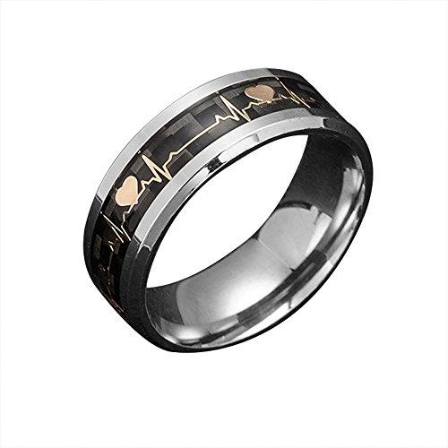 Haluoo Electrocardiogram Ring EKG Heartbeat Wedding Band ECG Couple Lovers Carbon Fiber Dark Luminous Glowing Engagement Wedding Band Titanium Steel Promise Ring Size 6-13 (12, Luminous Ring)]()