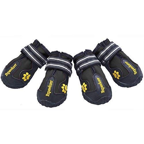 EXPAWLORER Waterproof Dog Boots for Paw Protection - Reflective Non Slip Dog Shoes Size 4 (Best Dog Shoes For Cold Weather)