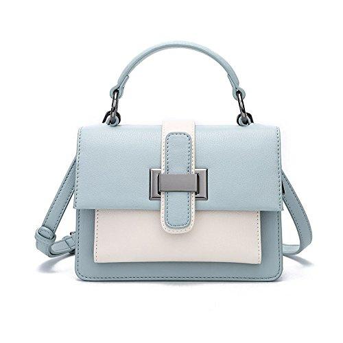 Bolso Cuadrado Pequeño de Cuero Color Marrón Bolso de Mensajero (Color : Caramel) Azul