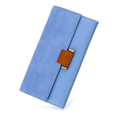 (Women Luxury Genuine Leather Wallet Long Multi Card Organizer Clutch Bags (Sky Blue))