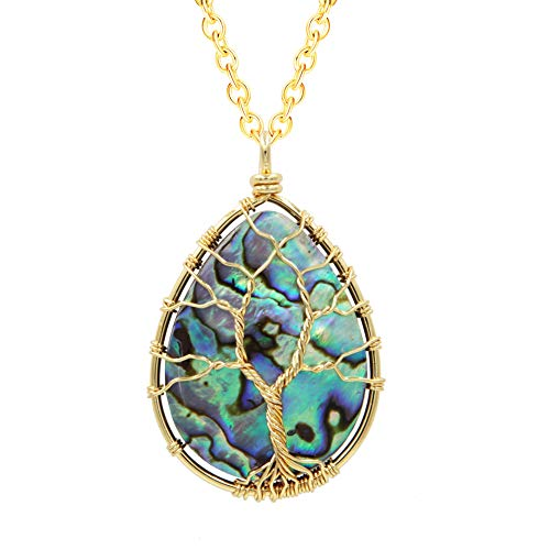 - FANSING Handmade Abalone Shell Necklace, Gold Wire Wrapped Teardrop Pendant, Stainless Steel Chain 18