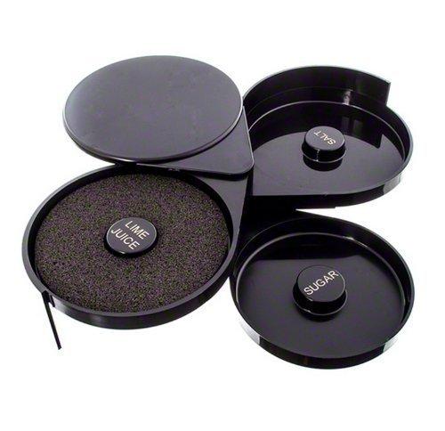 Tzipco's Luxury Plastic 3-Tier Salt And Sugar Glass Rimmer Black
