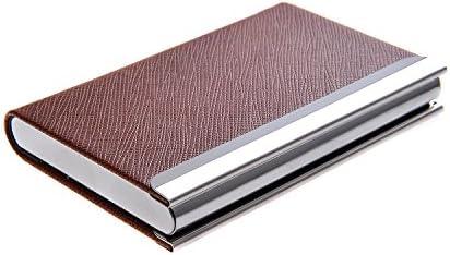 Quantum Abacus Visitenkartenetui /-halter aus Edelstahl und PU-Leder, mit magnetischem Verschluss, zeitlos elegant, Mod. 701-03 (DE)