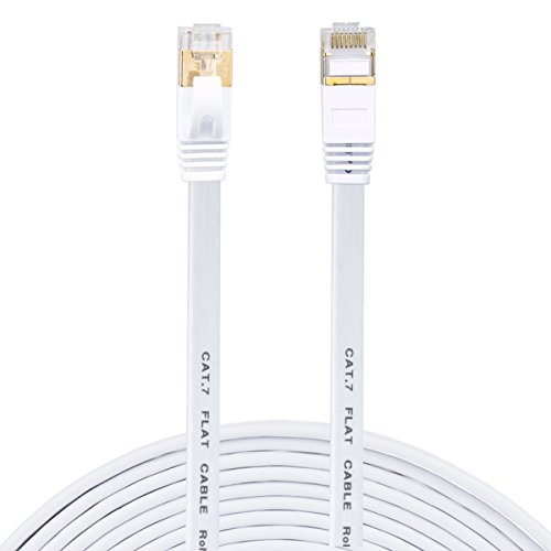SNANSHI Cat 7 Ethernet Cable, CAT 7 LAN Network Cable RJ45 Patch Cord STP Gigabit 10/100/1000Mbit/s with Gold Plated Lead for Switch/ Router/ Modem/ Patch Panel (15ft, White Flat)