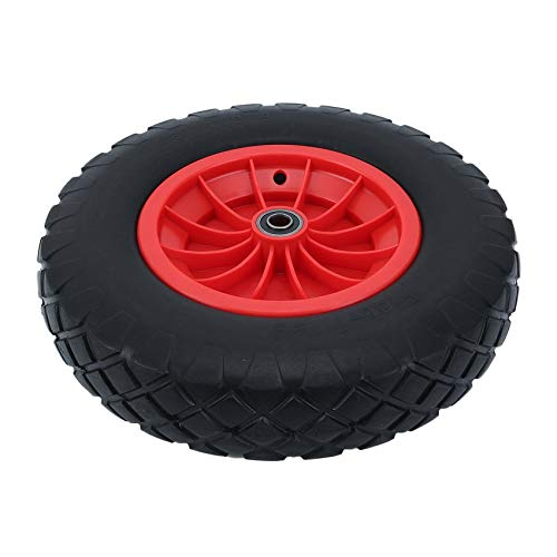 16 Inch Large Capacity Load Wear-Resistant PU Wheels for Carts Trailers Puncture Proof Solid Wheelbarrow Trolley Tyre Wheels cottonlilac