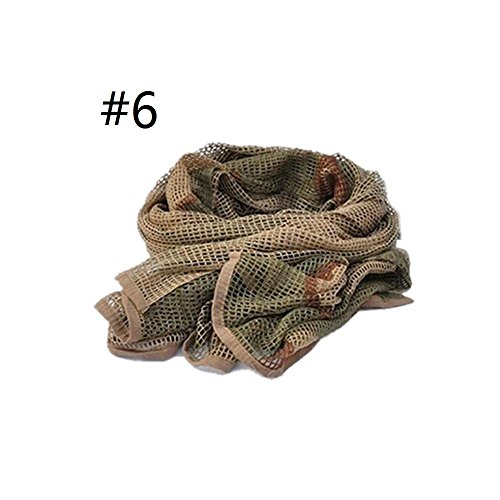 Auntwhale Mesh Scarf Wrap Mask Shemagh Sniper Veil 68''x33'' Camo Black Khaki OD For MTB BMX Mountain Road Bike Cycling Gift (1Pc) by Auntwhale