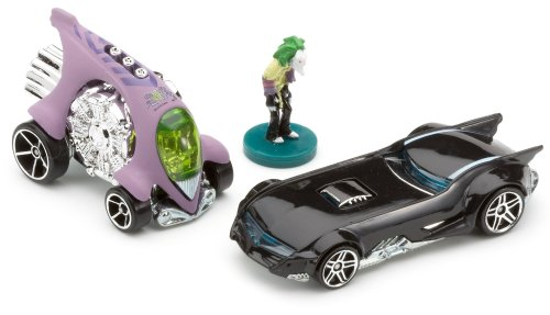 Hotwheels 1:64 Scale Batman Series The Joker's Last Laugh with Joker Mini Figure, Joker's Car and Batmobile