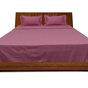 Brightlinen Onion Pink Single (90 X 190 Cm) Sheet Set Stripe (pocket Size: 26 Cm) 4pcs