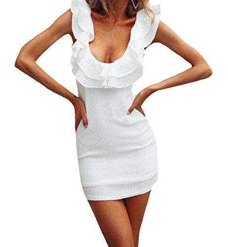 Colore Bodycon Abito Puro Coolred Vita Prendisole Di donne Bianco Sleeveless Mini IqE0Aw