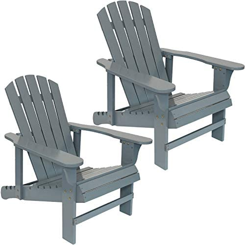 Sunnydaze Wooden Outdoor Adirondack Chair with Adjustable Backrest, 250-Pound Capacity, Set of 2, Gray
