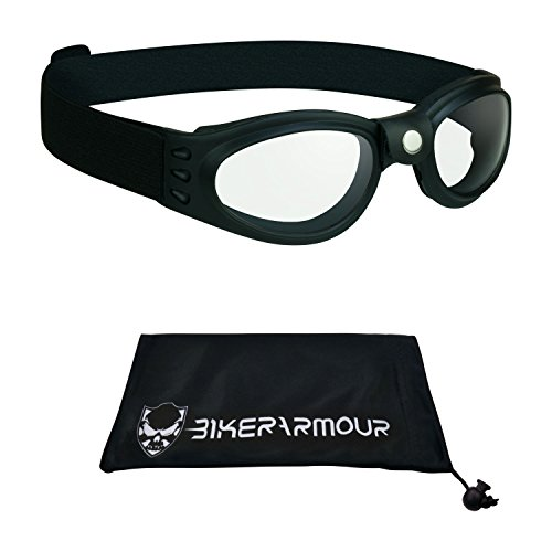 Kids Clear lens Goggles for motorcycle riding, Motor Cross, extreme sports and winter sports. Free Large Microfiber Cleaning Case Included.