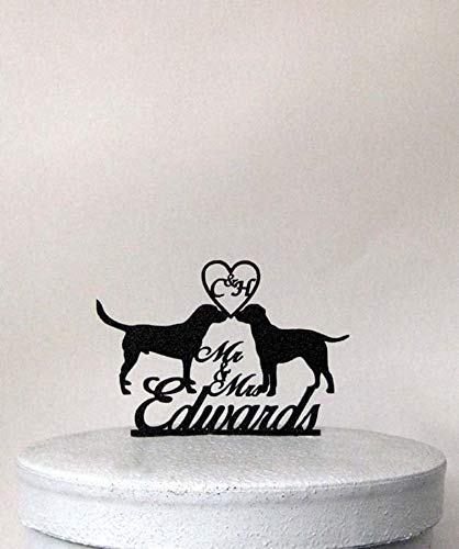 (Personalized Wedding Cake Topper Two Labrador Retrievers with your initials+ Mr & Mrs last name)