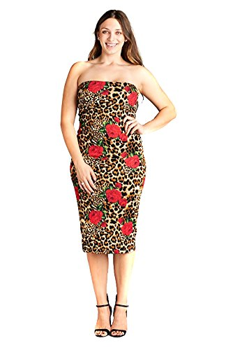 Plus Size Rose & Leopard Fitted Strapless Midi Dress - ()