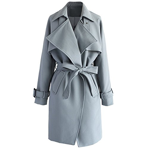 spyman Warm WomenGrey Casual Long Sleeve Outwear Textured Belted Trench Coat Cardigan as pictureMedium
