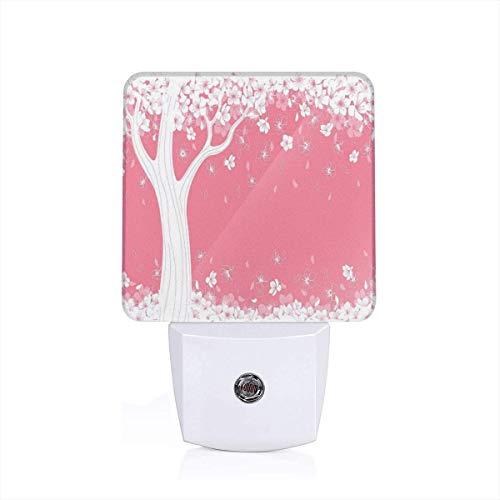 (Colorful Plug in Night,Blossom of Sakura Tree Silhouette Spring Decorative Seasonal Nature Illustration Print,Auto Sensor LED Dusk to Dawn Night Light Plug in Indoor for Childs Adults)