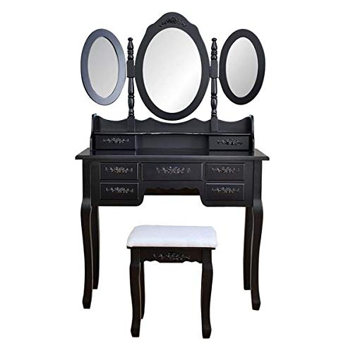 Queen Anne Large Oval Tray - 7 Drawers Dressing Table Black and Foldable 3 Mirrors with