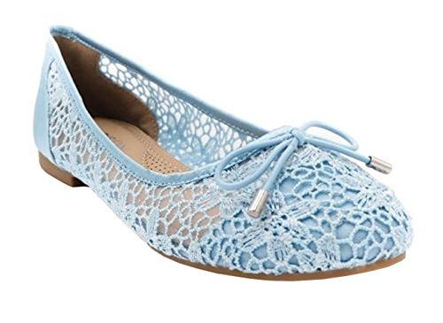 Womens Ladies Mesh Bow Slip On Ballerina Ballet Fashion Dolly Pumps Shoes - K67 Blue KcgaJdeX