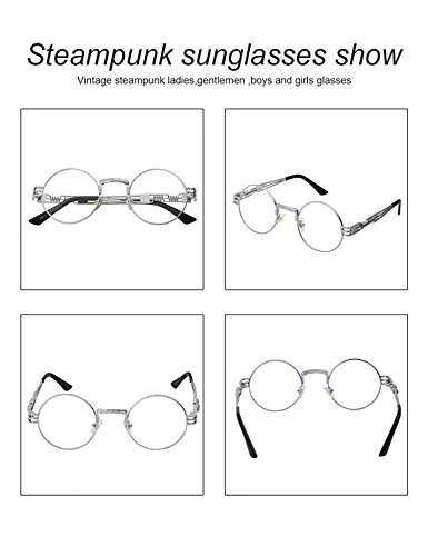 a4e5faf06f81 HUA JU Vintage John Lennon Style Metal Spring Frame Round Steampunk glasses  with Clear Lens (