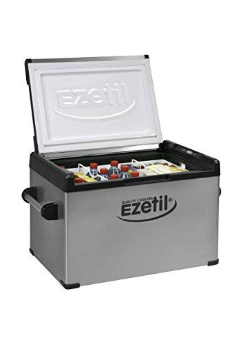 EZetil EZC80 mobile Kühlbox mit Kompressorentechnik 12/24/100-240V, Silber