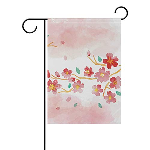 Chic Houses Watercolor Painting Bright Red Flower Outdoor Garden Flags Classical Artwork Chinese Style Vertical Double Sided Home Decorative House Yard Sign 12 x 18 Inch 2030159