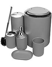 O2 Tech Update 6 Piece Bathroom Accessories Set,Plastic Bath Ensemble Bath Set Lotion Bottles, Toothbrush Holder, Tooth Mug, Soap Dish, Toilet Brush, Trash Can (Grey)