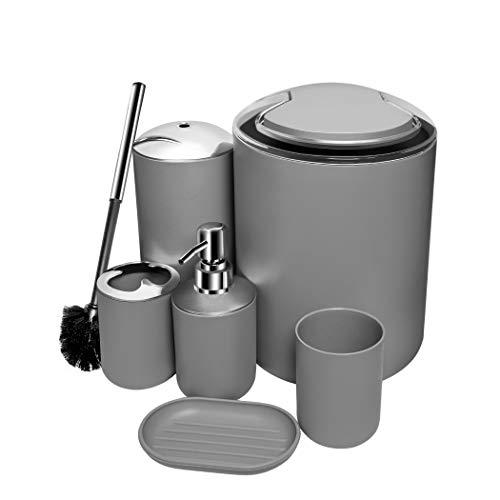 O2 Tech Update 6 Piece Bathroom Accessories Set,Plastic Bath Ensemble Bath Set Lotion Bottles, Toothbrush Holder, Tooth Mug, Soap Dish, Toilet Brush, Trash Can (Grey) (Piece Bath Ensemble 6)