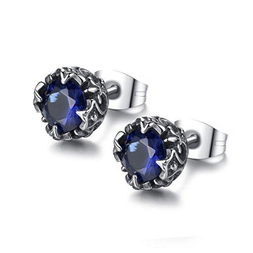 REVEMCN Jewelry Silver Tone Stainless Steel Vintage Stud Earrings for Men Women, Various Styles (Blue CZ)