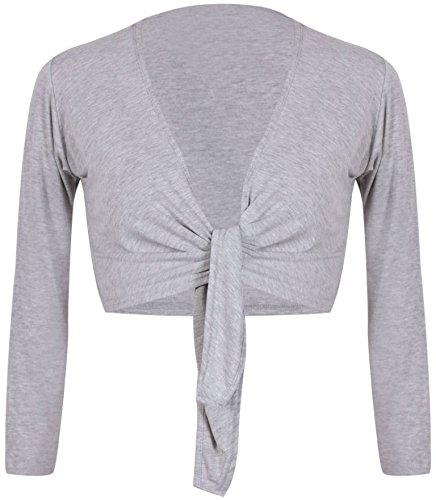 R KON Women's TIE up Crop Shrug WRAP Bolero Cardigan TOP Sizes (ML, Grey)