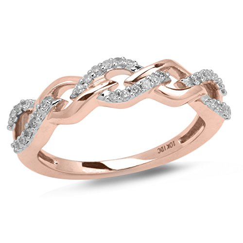 Diamond Wedding Anniversary Ring Band in 10k Rose Gold with White Rhodium Plated Accents (1/10 cttw) Braided Gold Diamond Wedding Band