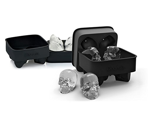 3D Skull Flexible Silicone Ice Cube Mold Tray, Makes Four Giant Skulls, Round Ice Cube Maker, Black - Pack of 2