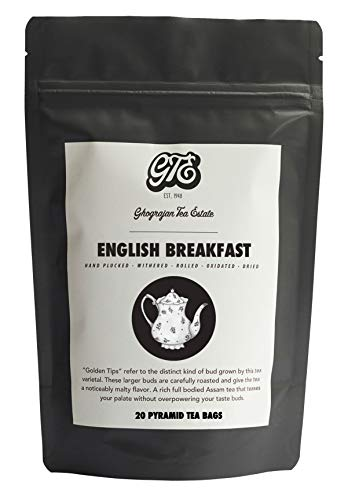 (English Breakfast Tea Bags - 16 Pyramid Tea Bags - Strong Breakfast Black Tea - Farm2Cup - Direct From 5th Generation Farm in Assam, India)