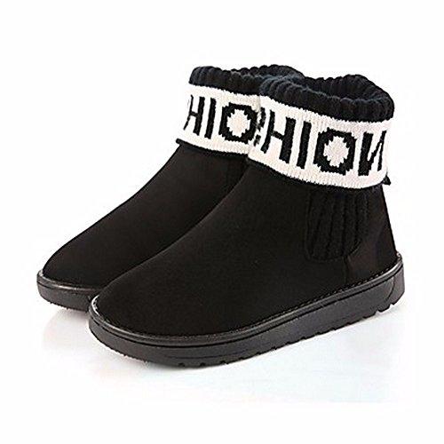 Bout Bleu Talon D'Automne Chaussures Noir Gris ZHUDJ Bottes Bottes Pour Femmes Foncé Plat Un Jaune Rond Neige De Black Pour x66vAw0