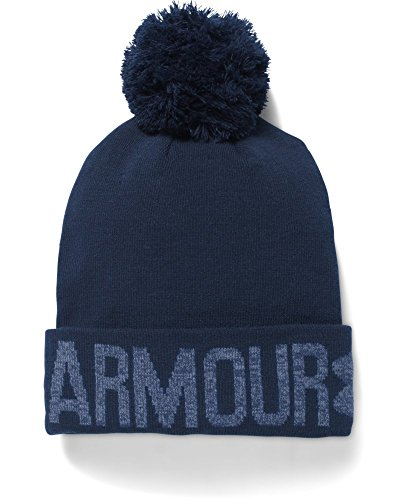 Under Armour Women's UA Graphic Pom Beanie One Size Fits All Midnight Navy
