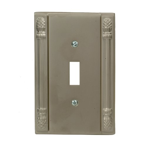 AmerTac 8002TPWL Pineapple Cast Solid Brass Single Toggle Wallplate, Pewter (Pineapple Cast)