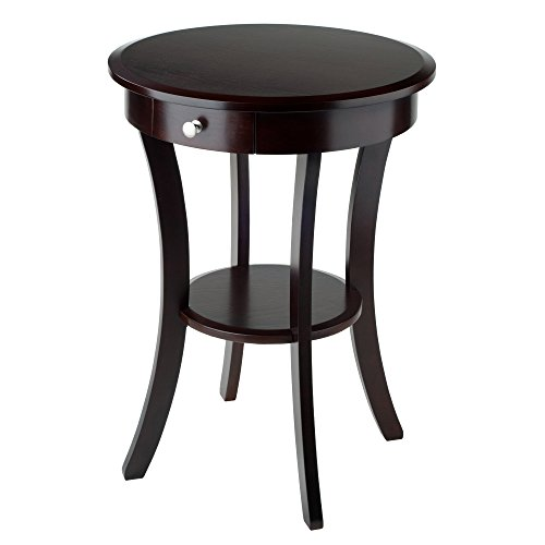 Winsome Wood Sasha Accent Table with Drawer, Curved Legs, Cappuccino Finish - Entry Accent Table