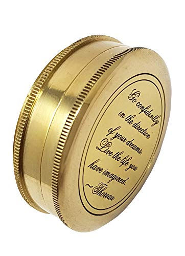 Brass Nautical - Go Confidently in The Direction of Your Dreams Thoreau's Quote Compass W/Case