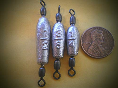 45 Pcs. Trolling Fishing Weights Sinker Fishing Supplies Gear and Equipment with #7 Black Crane Swivel 1/2, 3/8, 1/4 Oz. 15ea. ()