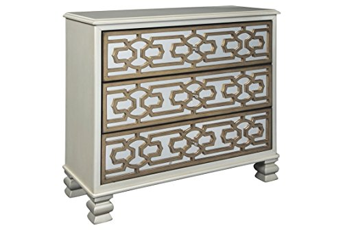 nature Design - Senzernell 3-Drawer Accent Cabinet - Contemporary - Geometric Pattern on Mirror Panel Drawer Fronts - Silver/Gold Finish ()