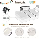 BABY JOY Baby Bedside Crib, Portable Travel Sleeper Bed Side Bassinet w/Carrying Bag, Newborn Bassinet to Infant, Kids Crib with Detachable Mattress, Height & Angle Adjustable, Breathable Mesh