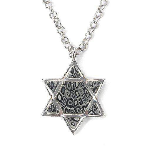 (925 Sterling Silver Star of David Necklace Men's Jewish Pendant Handmade Mercury-Gray Polymer Clay, 18.9