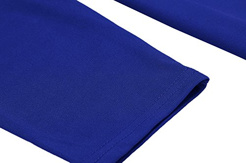 Meaneor Damen Skaterkleid Basic Kleid 3/17 Ärmel Tailliengürtel O-Ausschnitt Stretch