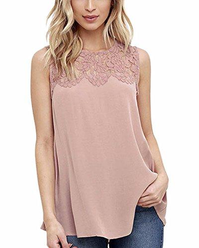 T Shirt Maniche Nuovo Maglietta Elegante ZANZEA Loose Pizzo Canotta Rosa Casual Top Maglia Donna Senza AgCwaBq