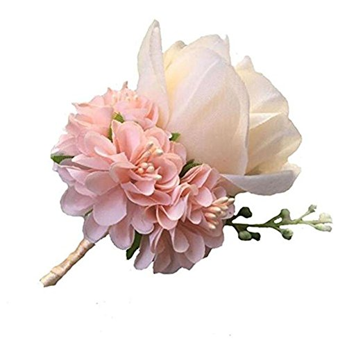(WeddingBobDIY Boutonniere Buttonholes Groom Groomsman Best Man Rose Wedding Flowers Accessories Prom Suit Decoration Champagne)